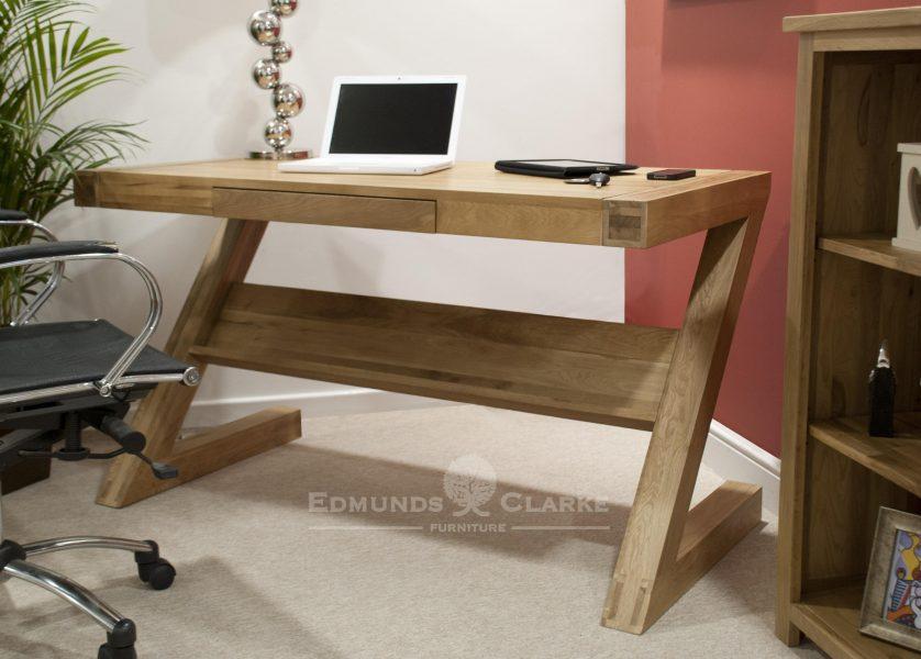 Designer Solid Oak Z Desk With Drawer Edmunds Amp Clarke Ltd