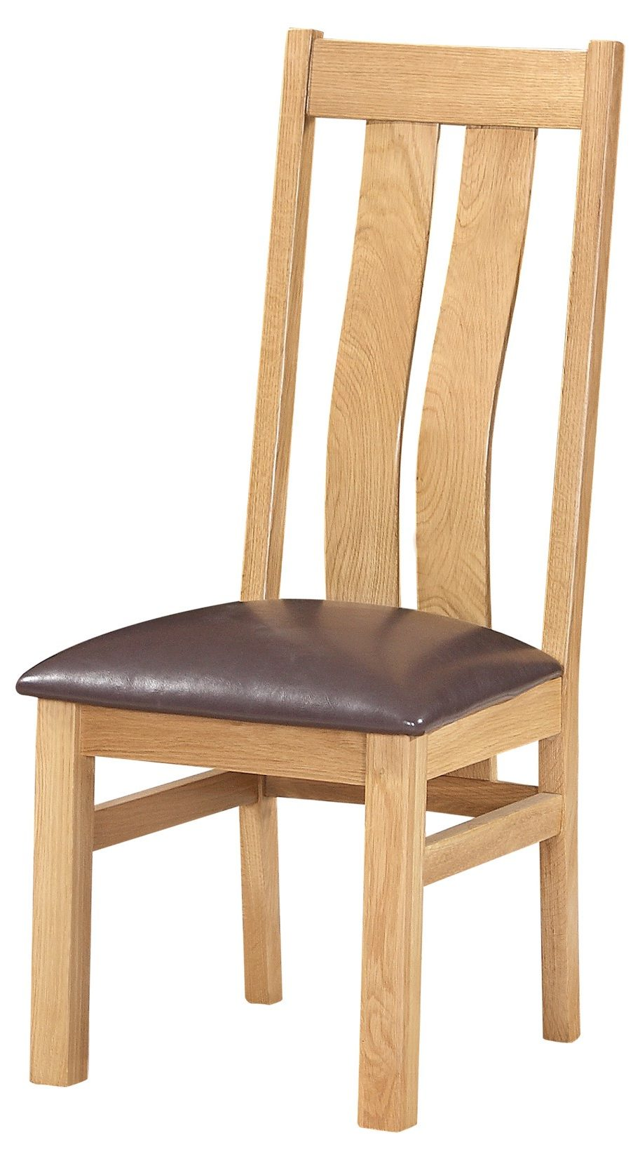 Light Oak Arizona Dining Chair. Two wide slats going downwards with lumbar support. with faux leather dark brown seat pad.DOR100