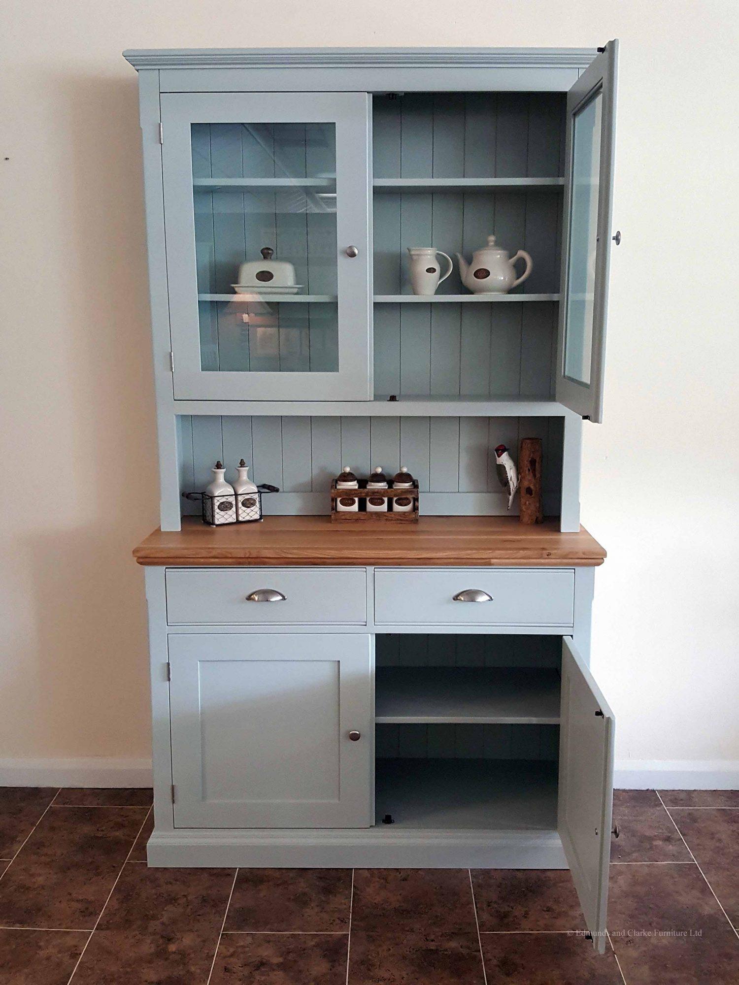 Edmunds painted 4ft half glazed dresser. side board with moulded oak top, two drawers 2 doors. choice of handles. adjustable shelves EDM011
