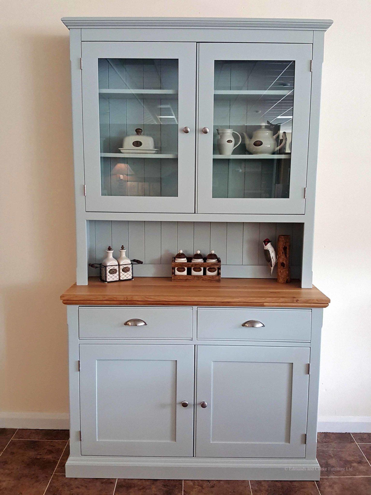 Edmunds painted 4ft half glazed dresser. sideboard has moulded oak top with 2 drawers and 2 doors. EDM011
