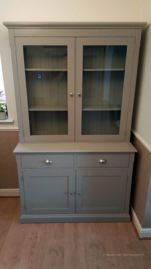 Painted 4ft Fully Glazed Dresser, chrome cup handles, EDM020