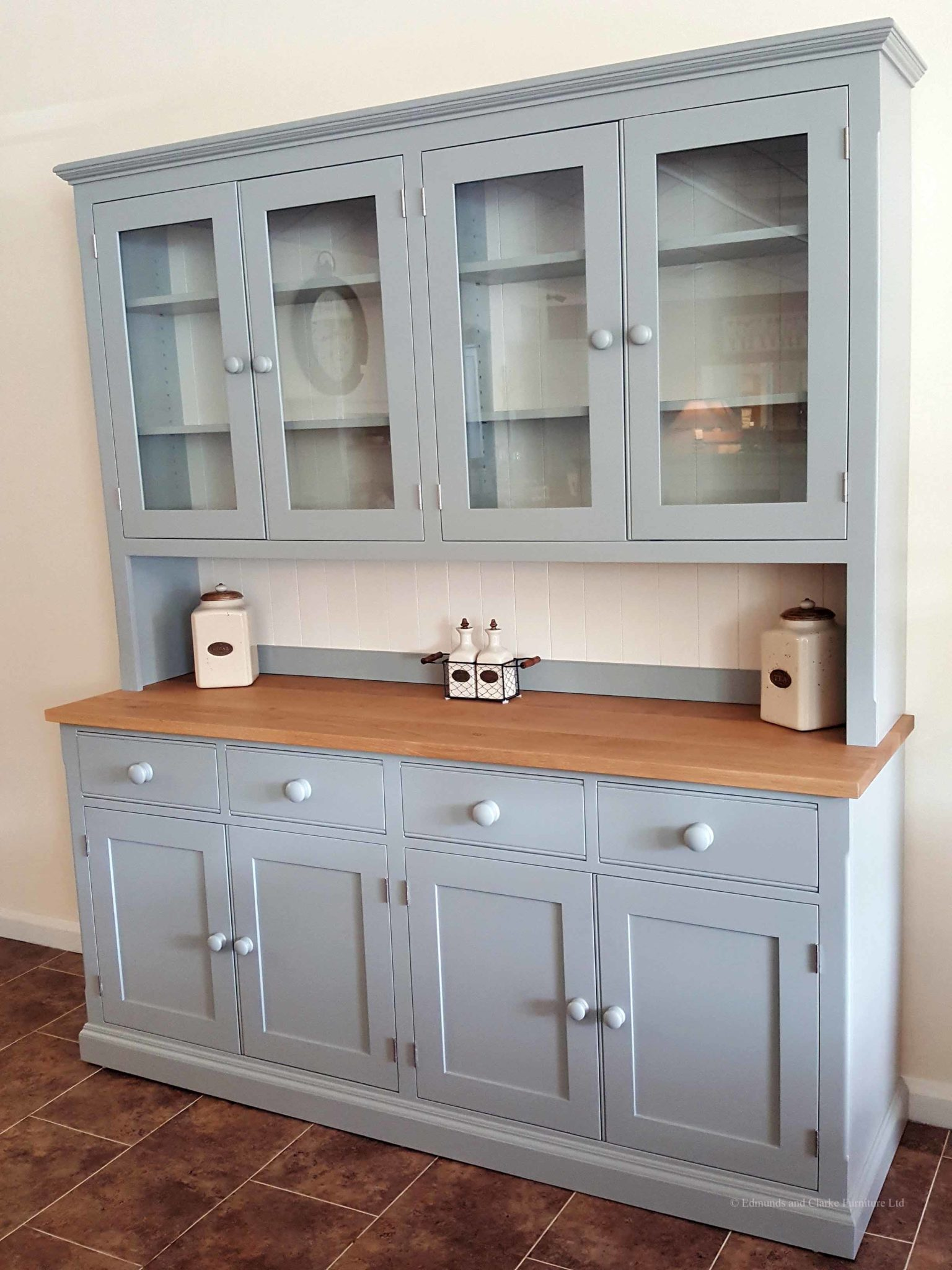 Edmunds 6'6 Painted Half Glazed Dresser. with contrasting white backboards. sideboard has square oak top with 4 drawers and 4 doors. painted knobs and all adjustable shelves. choice of handles and knobs. EDM030