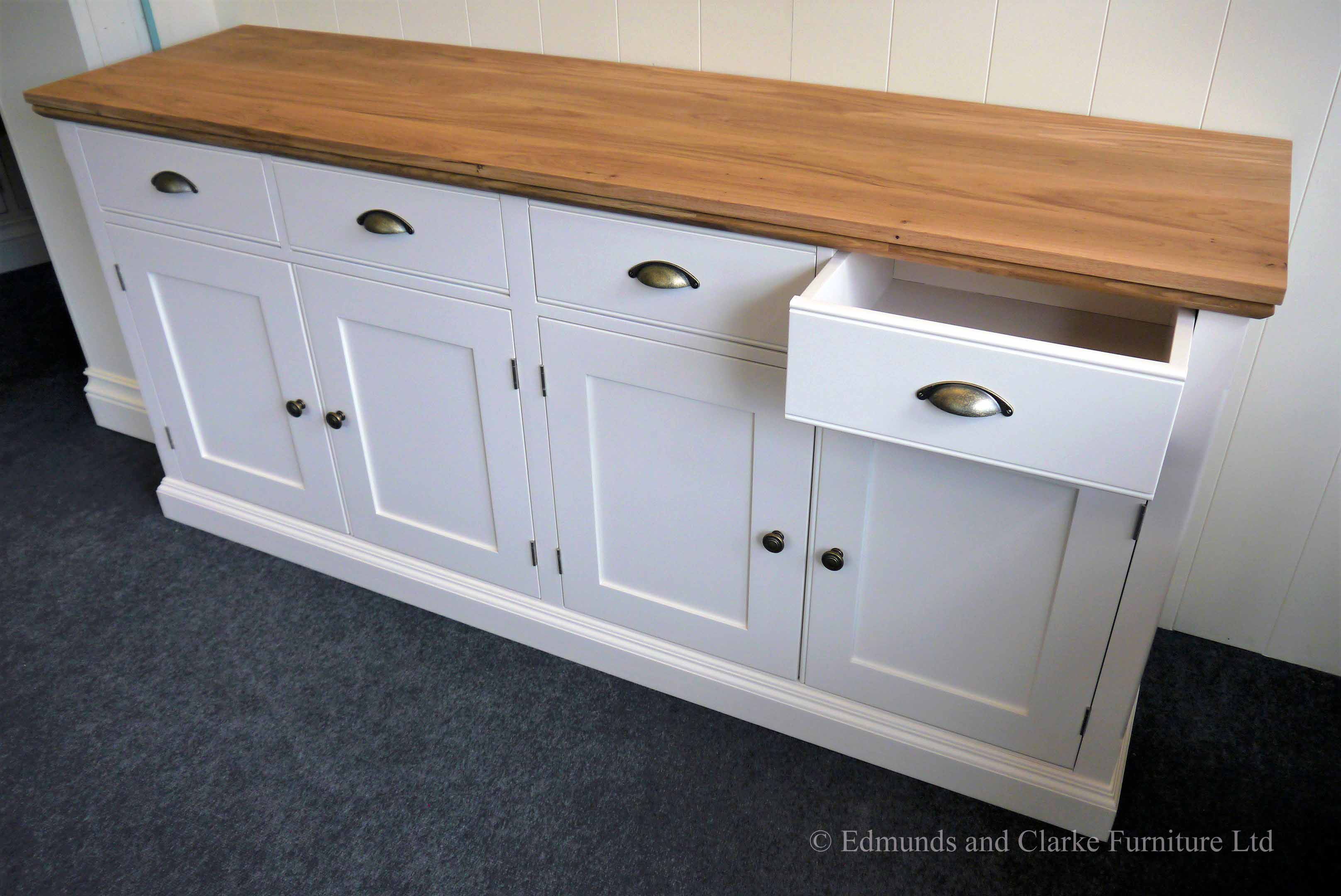 Edmunds 6ft Painted Sideboard with moulded oak top, 4 drawer and 4 doors. choice of handles. EDM033
