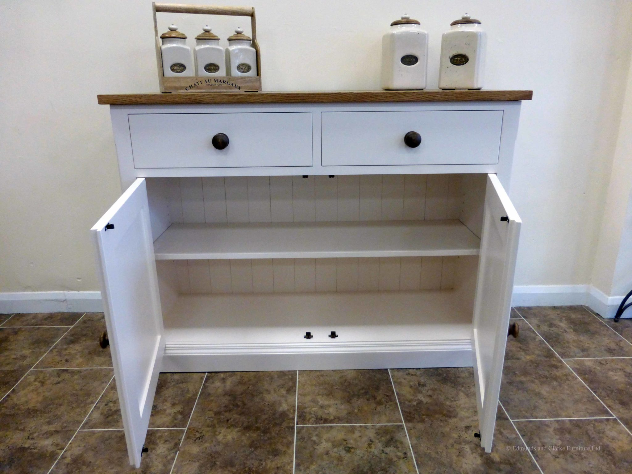 Edmunds Painted 4ft Sideboard. 25mm oak top. 2 drawers and 2 doors with adjustable shelves within. image showing dunwich stone with oak round handles and knobs. choice of handles. EDM040