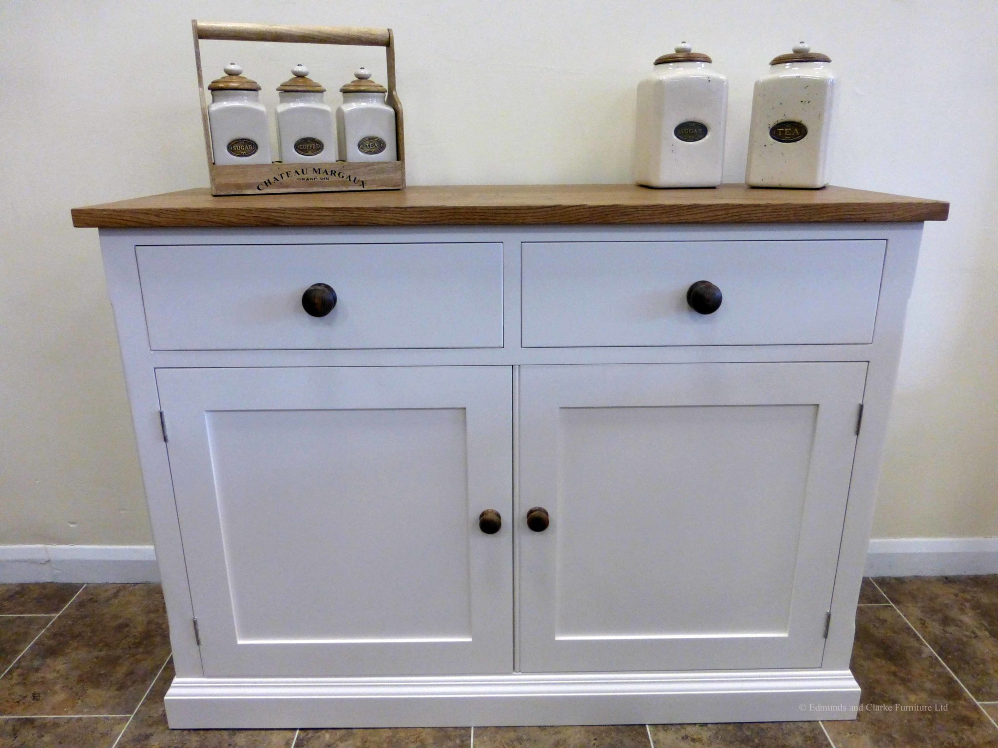 Edmunds Painted 4ft Sideboard. 25mm oak top. 2 drawers and 2 doors with adjustable shelves within. image showing dunwich stone oak handles and knobs. choice of handles. EDM040