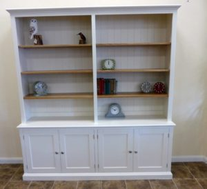 Edmunds Painted 4 Door Library Bookcase. painted all over with adjustable oak shelves, cupboard under with 4 doors. adjustable shelves, choice of handles and knobs. EDM048