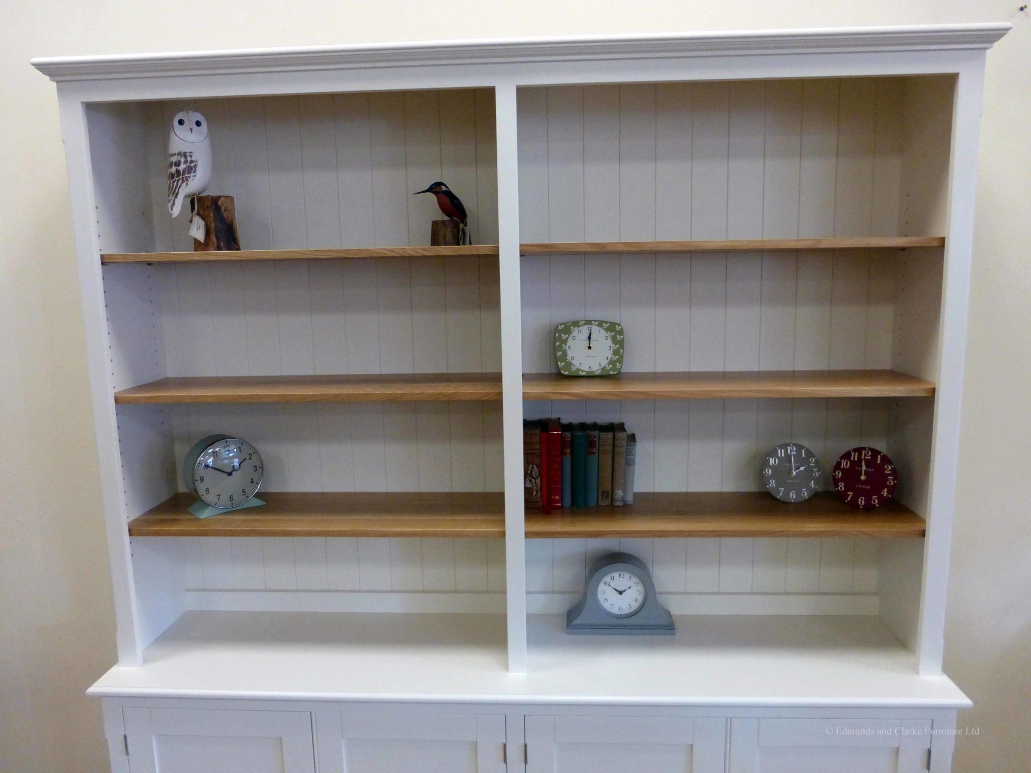 Edmunds 2 metre Painted double library bookcase, painted all over with adjustable oak shelves, cupboard under with 4 doors. adjustable shelves, choice of handles and knobs. EDM048