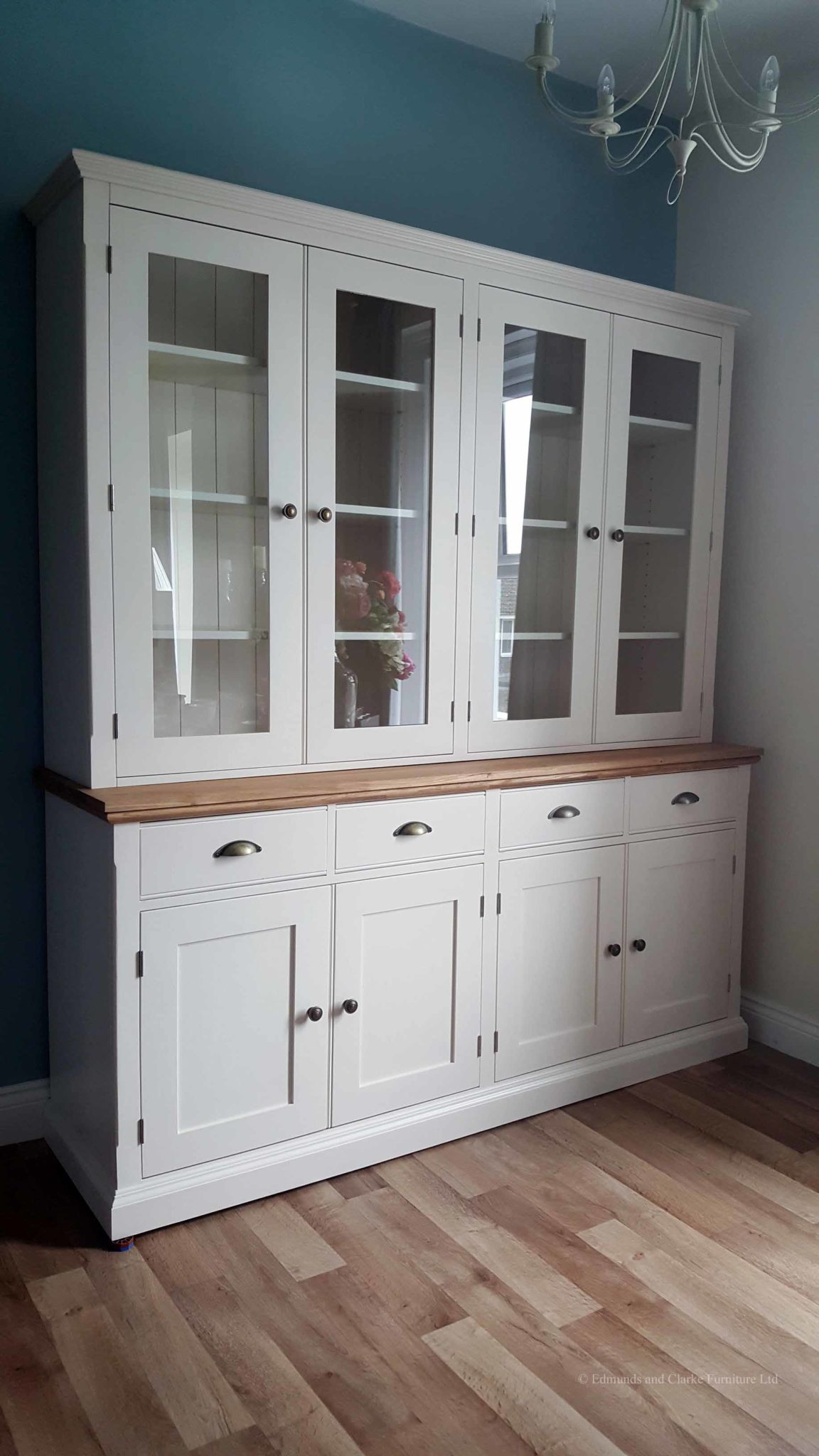 Edmunds painted 6ft Fully Glazed Dresser. Sideboard has moulded oak top, 4 drawers and 4 doors under. adjustable shelves. choice of handles. EDM06