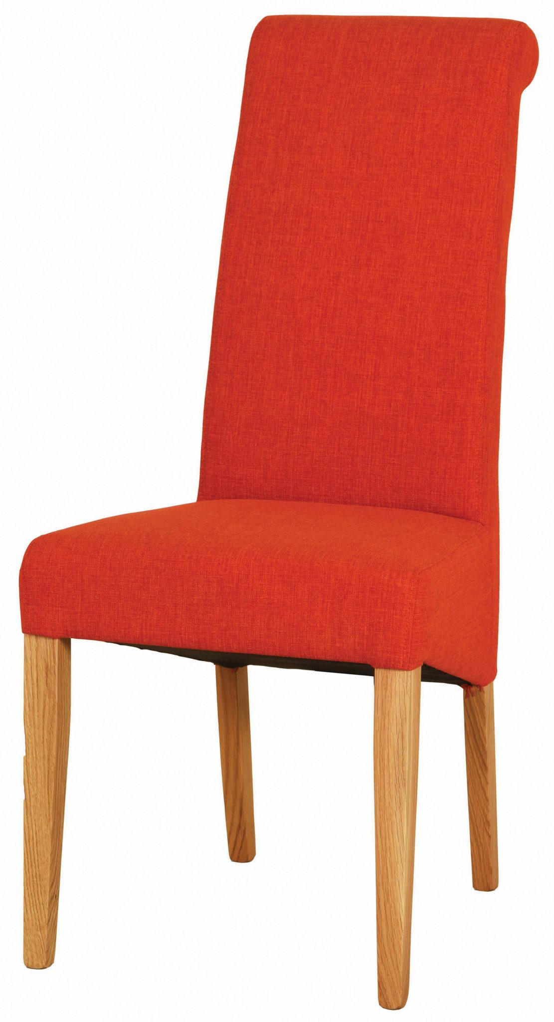 orange fabric dining chair with light oak legs. tight woven fabric on back seat and pad