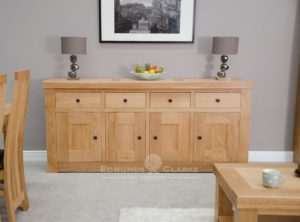 Hadleigh solid oak chunky large sideboard. light lacquered oak rustic handles.