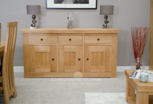 Hadleigh solid oak chunky medium sideboard. rustic knobs and light lacquered finish