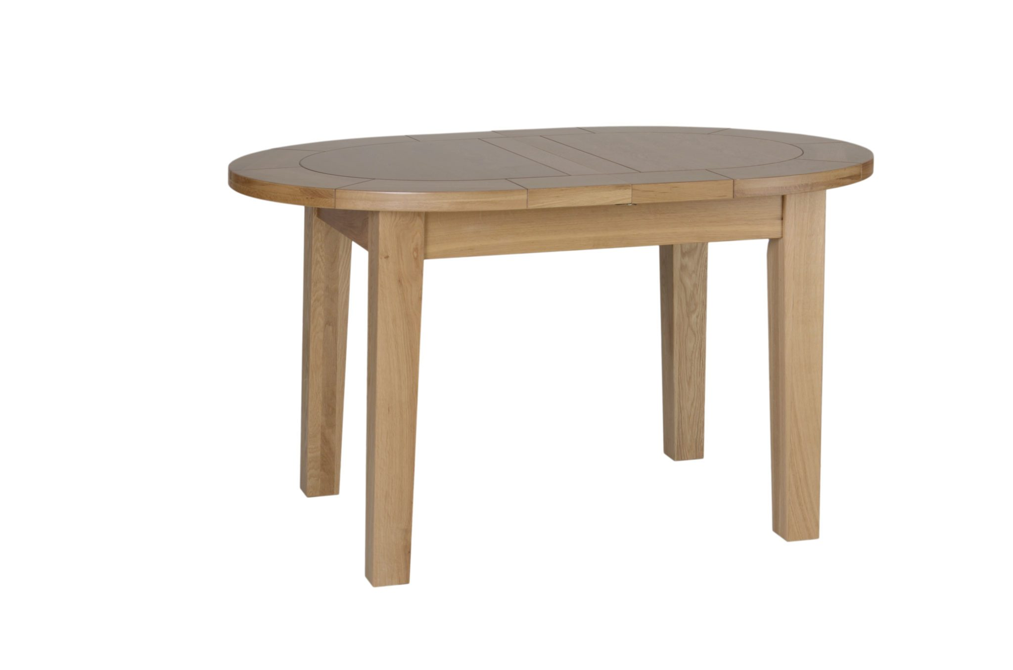 Norwich Oak Small D End Extending Dining Table. Extends from 132cm to 165cm Contemporary shaker style curved top table with extension in the middle. Seats 4. NNT01