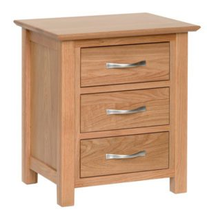 Norwich Oak 3 Drawer Bedside chest. contemporary shaker style straight lines and shaped edges on tops. shaped chrome bar handles. 3 handy drawers NNB30