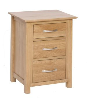 Norwich Oak 3 Drawer High Bedside chest.contemporary shaker style straight lines and shaped edges on tops. shaped chrome bar handles. 3 handy drawers NNB40