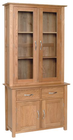 Norwich Oak 3ft Glass Top Dresser, top only. contemporary shaker style straight lines and shaped edges on tops. shaped chrome bar handles. 2 fixed shelves and glass doors. NND20