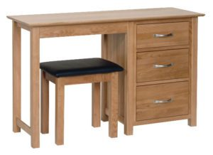 Norwich Oak Single Pedestal Dressing Table & Stool.contemporary shaker style straight lines and shaped edges on tops. shaped chrome bar handles. 3 handy drawers NND25