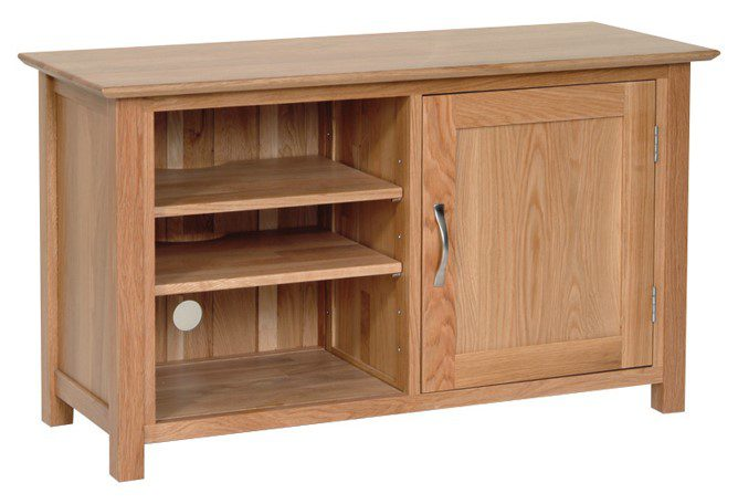 Norwich Oak Standard TV Cabinet. contemporary shaker style straight lines and shaped edges on tops. shaped chrome bar handle. 2 handy shelves of one side and 1 door NNT20