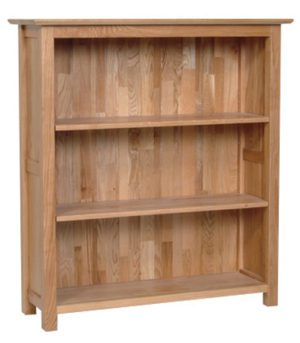 Norwich Oak 3ft Bookcase. contemporary shaker style straight lines and shaped edges on tops. 2 adjustable shelves NNK20