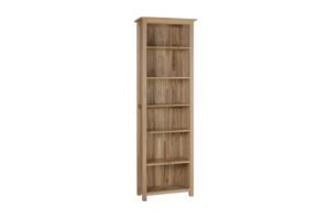 Norwich Oak narrow 6ft Bookcase. contemporary shaker style with straight lines, moulded top. 4 adjustable, 1 fixed shelf shelf NNK45