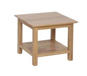 Norwich oak small Coffee Table 53cm. contemporary shaker style straight lines and shaped edges on tops. handy shelf at the bottom NNT16
