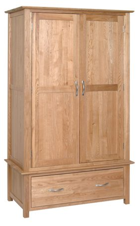 Norwich Oak Double wardrobe 1 Drawer. contemporary shaker style straight lines and shaped edges on tops. shaped chrome bar handles. 2 doors with 1 drawer at bottom NNW30
