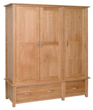 Norwich Oak Triple Oak Triple Wardrobe 2 drawer. contemporary shaker style straight lines and shaped edges on tops. shaped chrome bar handles. 3 doors and 2 handy drawers at the bottom NNW50
