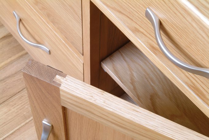 Image showing internal shelf on a piece of Norwich Oak furniture by Edmunds & Clarke Furniture
