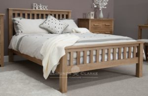 double bed - rail headboard . Slatted slates for extra comfort. chunky slatted headboard and high footend OPU46HFE