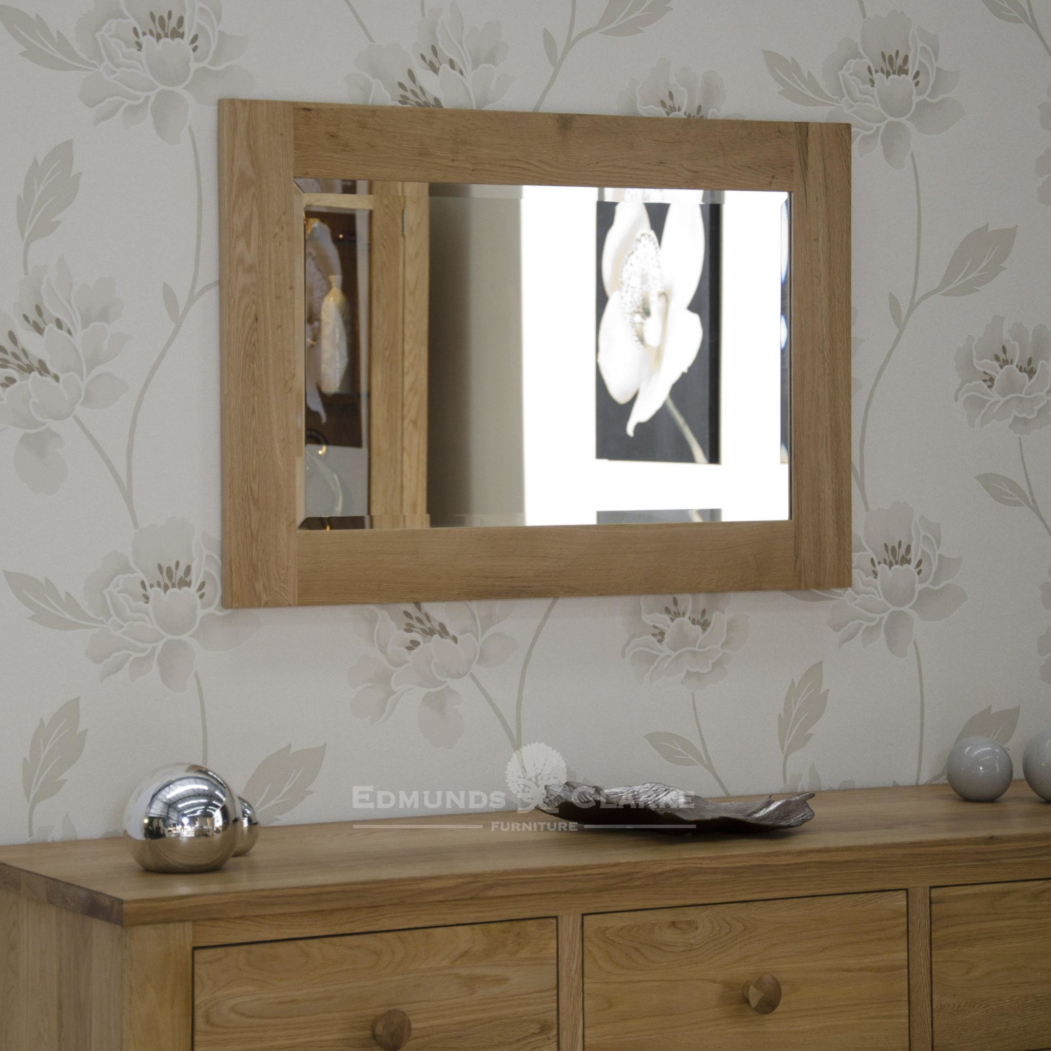 solid oak wall mirror - 60x90, bevelled mirror inside a chunky oak frame. hang vertically or horizontally