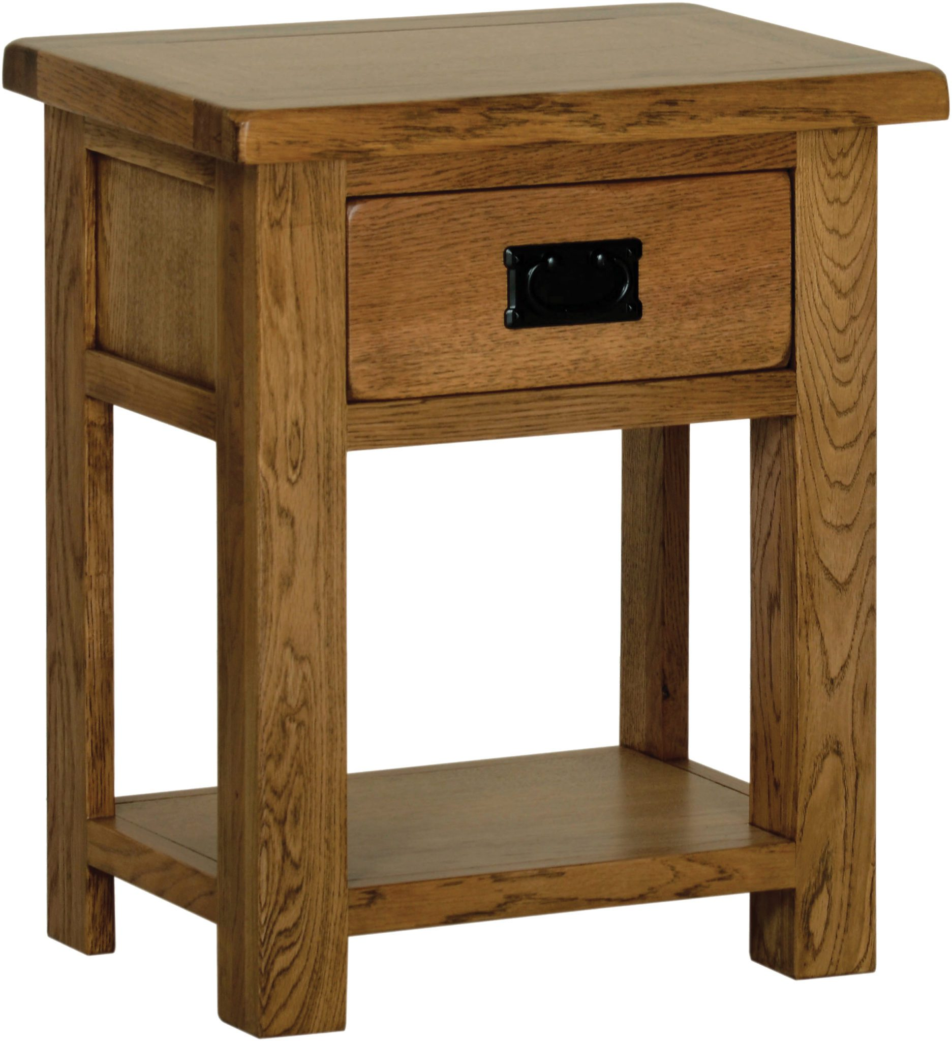 Sudbury Oak Night Stand. 1 handy drawer and shelf below. rustic oak style straight lines and shaped edges on tops. rustic black drop down handle SRB25