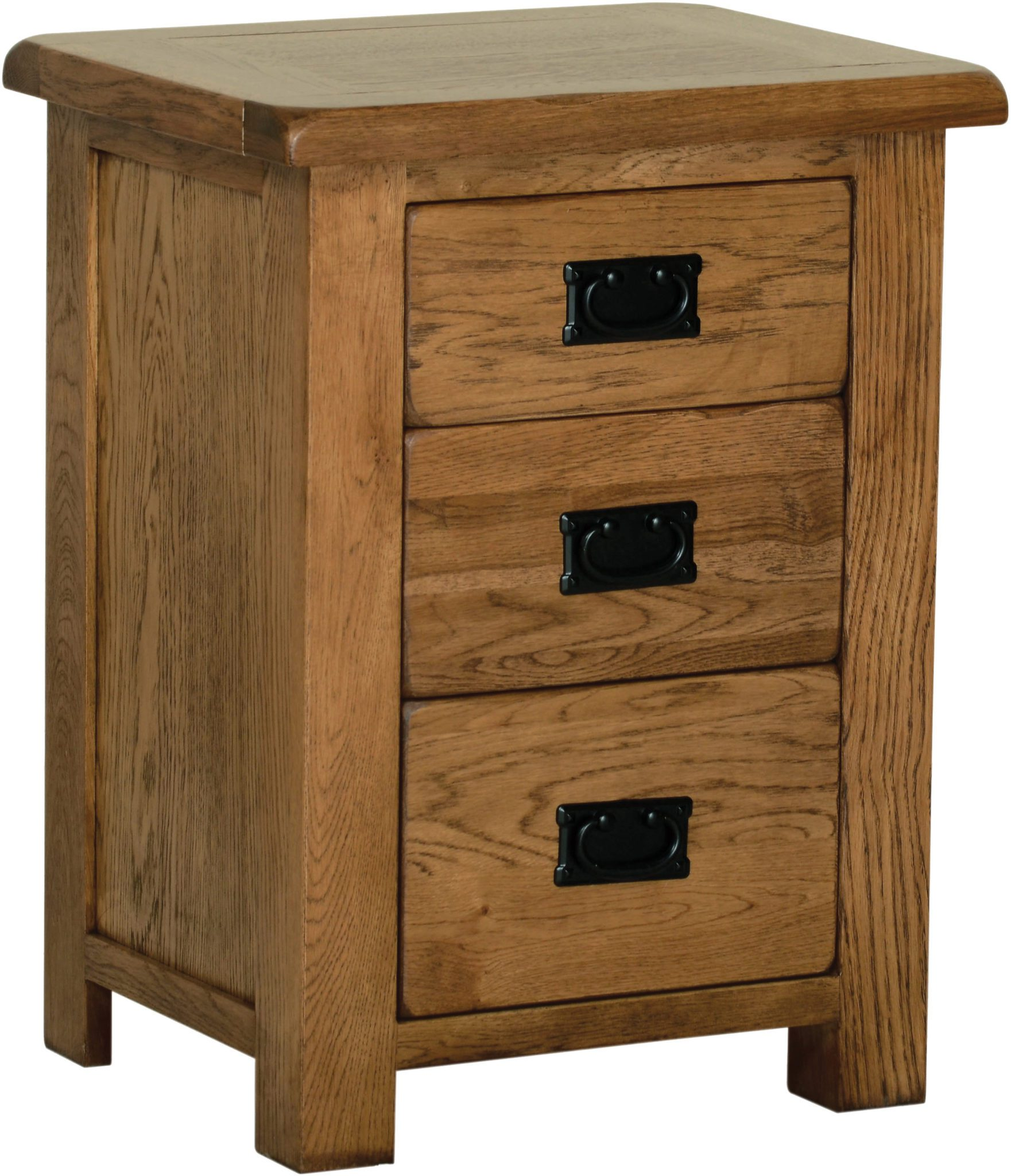 Sudbury Oak 3 Drawer High Bedside. rustic oak style straight lines and shaped edges on tops. rustic black drop down handle SRB40