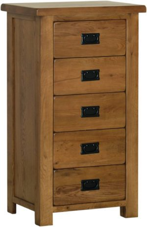Sudbury Oak 5 Drawer Wellington. rustic oak style straight lines and shaped edges on tops. rustic black drop down handles. SRB50