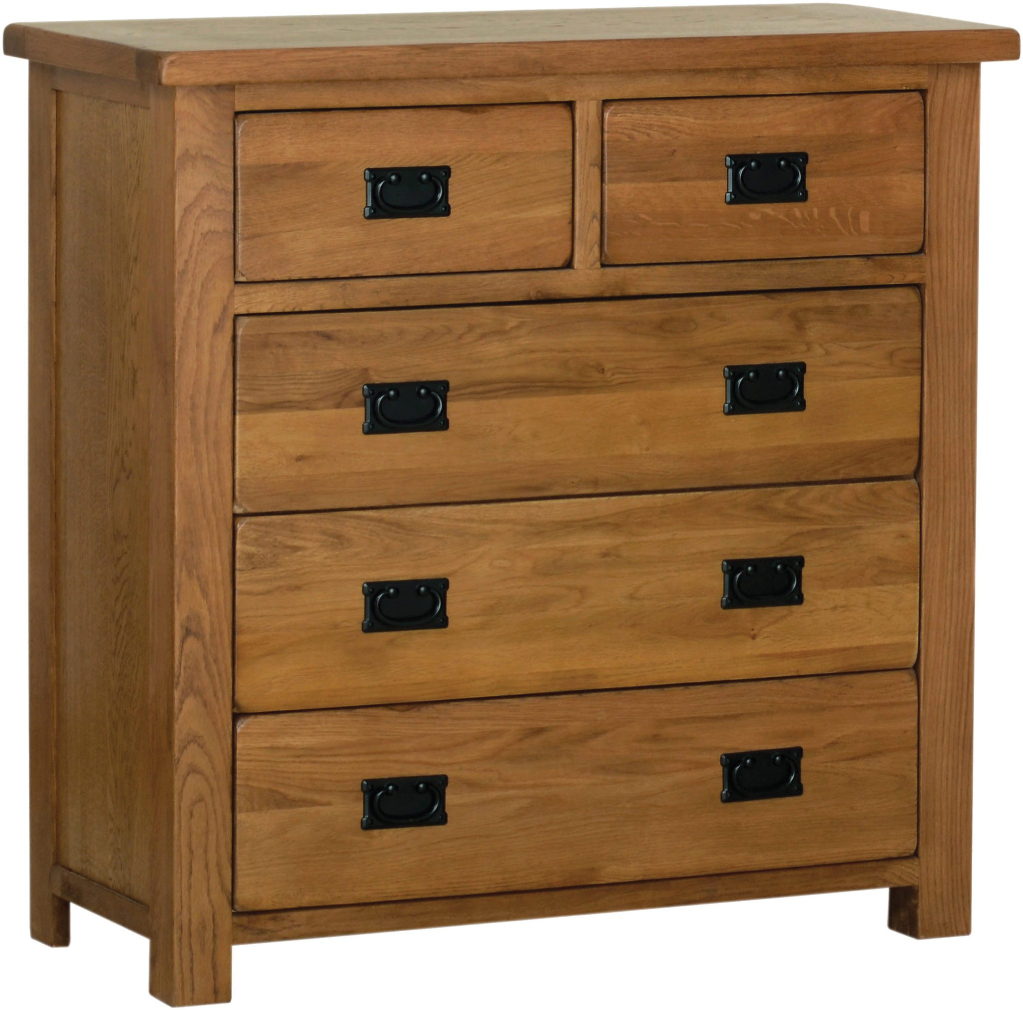 Sudbury Oak 3+2 chest drawers rustic oak style straight lines and shaped edges on tops. rustic black drop down handles. SRC70