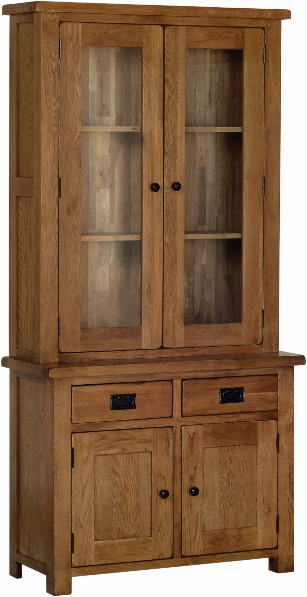 Image showing Sudbury dresser top & Base together. Rustic oak shaker style. glass doors at top and solid drawers and doors at bottom. Black rustic drop down handles and knobs SRD20, SRS20