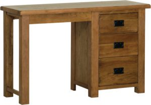 Sudbury Oak Single Pedestal Dressing Table. Rustic shaker style with rounded edges. 3 handy drawers down one side. black drop down handles SRD25