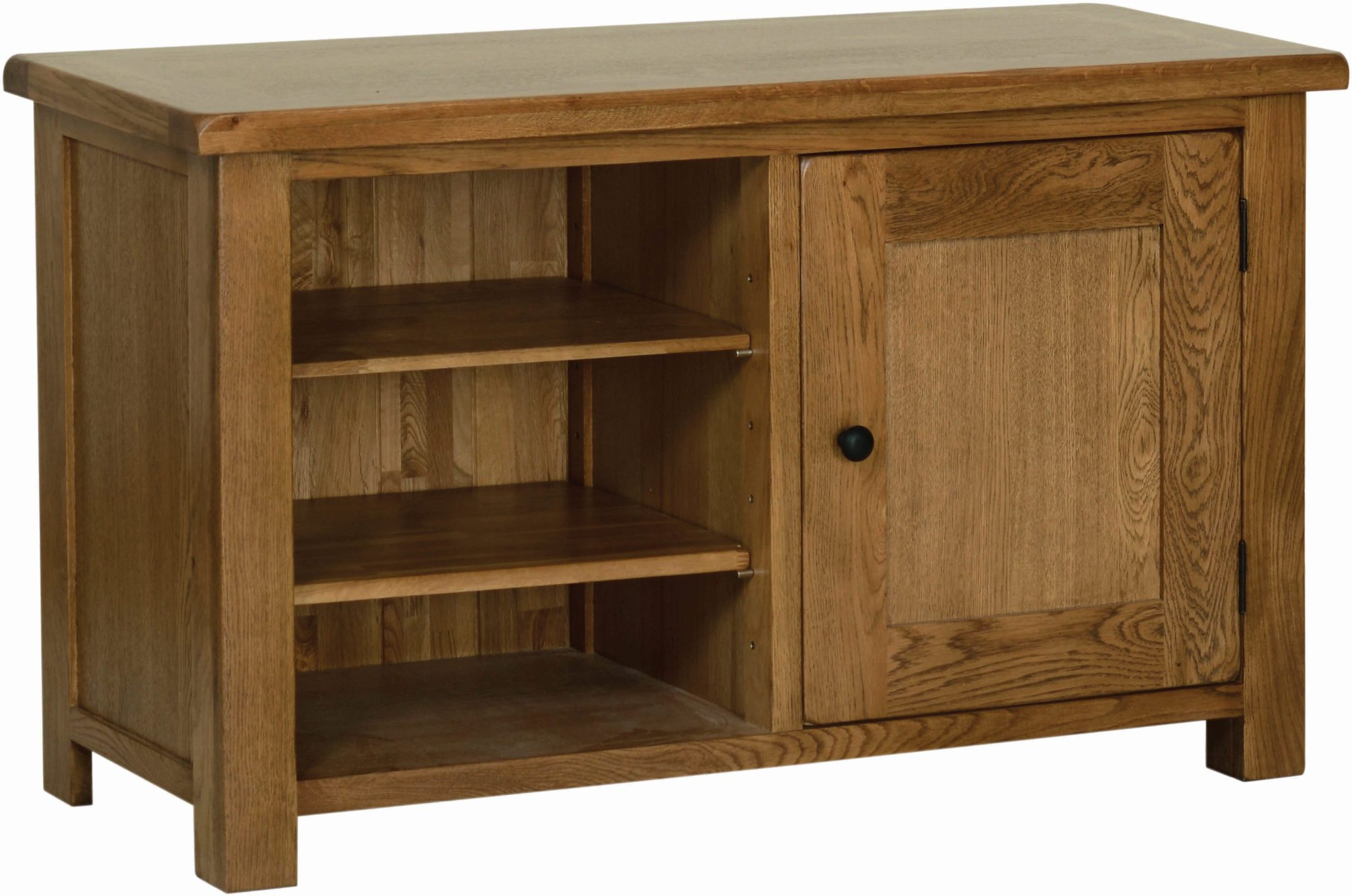 Sudbury Oak Standard TV Cabinet Rustic shaker style with rounded edges, 2 doors with rustic round knobs. 1 cupboard at the side with adjustable shelf within. 2 open adjustable shelves in centre. SRE20