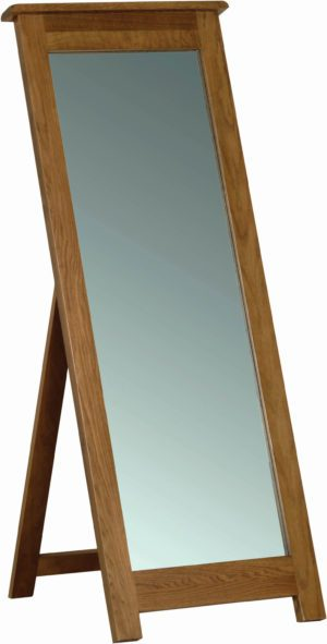 Sudbury Oak Cheval Mirror. With floor support stand at the back SRM40