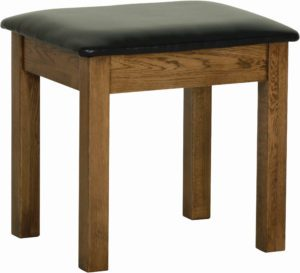 Sudbury Oak Dressing Table stool. rustic oak shaker style with faux leather seat pad. SRS10