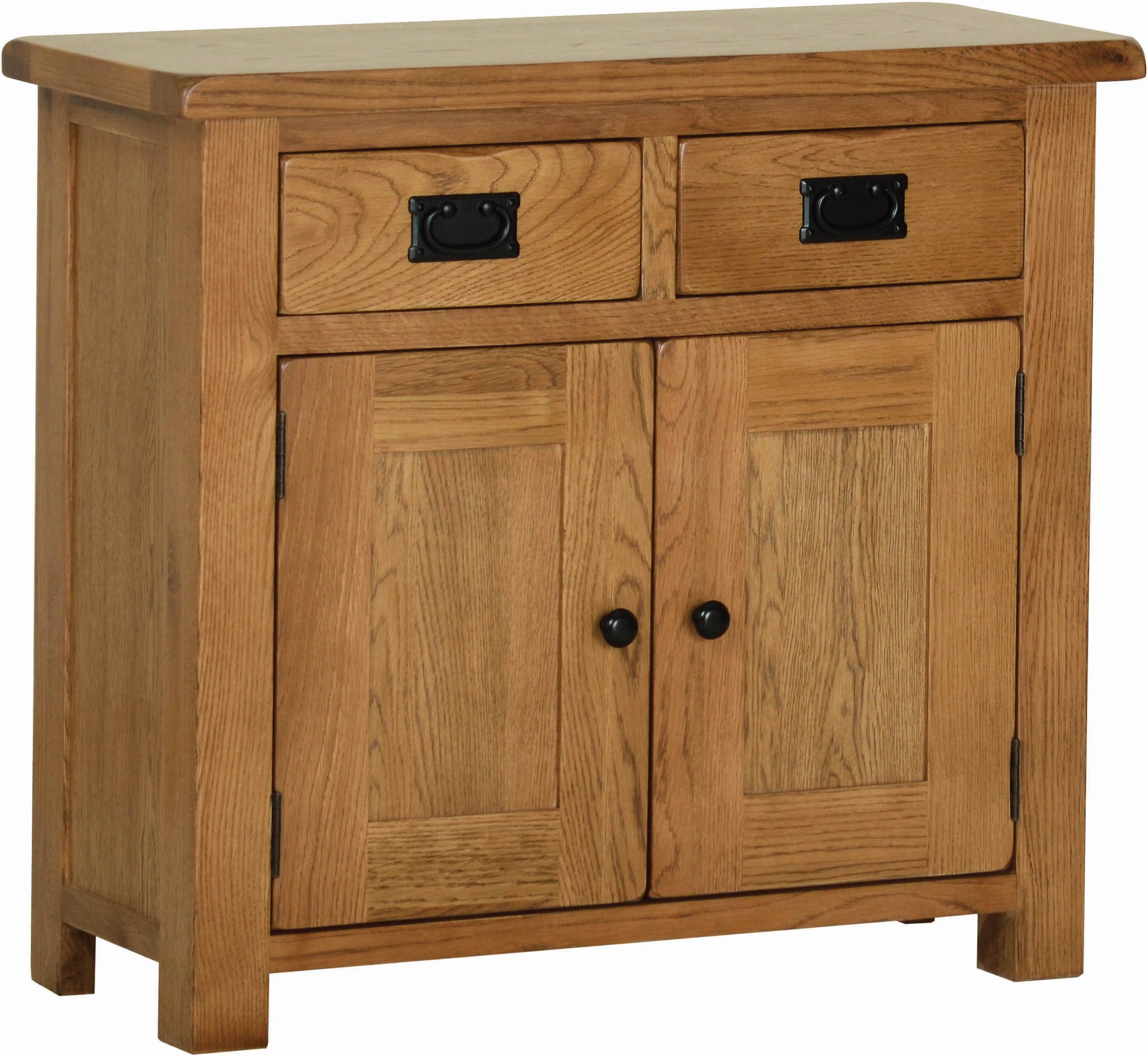 Sudbury Oak Small Sideboard. rustic shaker style with rounded edges. 2 handy drawers with rustic black handles, two doors with rustic black round knobs. adjustable shelf in each cupboard. SRS15
