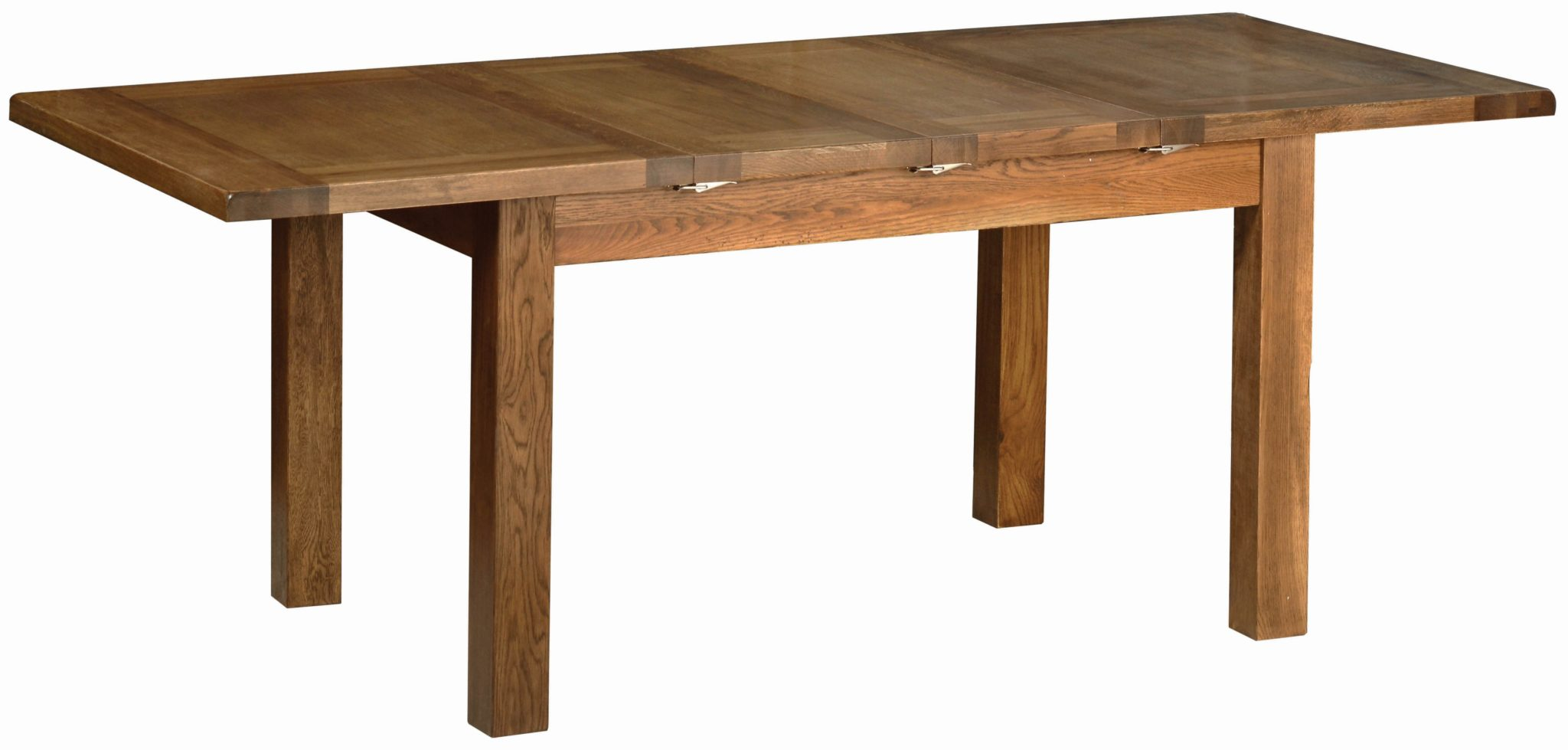 Sudbury Oak 4'4 x 3' Ext Table. Image showing open and un-extended. Extends from 132 to 203. Seats 6. Rustic shaker style with rounded edges. SRT07