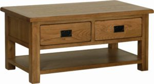 Sudbury Oak Coffee Table with 2 Drawers. rustic style clean lines and rounded edges. 2 handy drawers with black drop down handles. shelf at bottom. SRT15