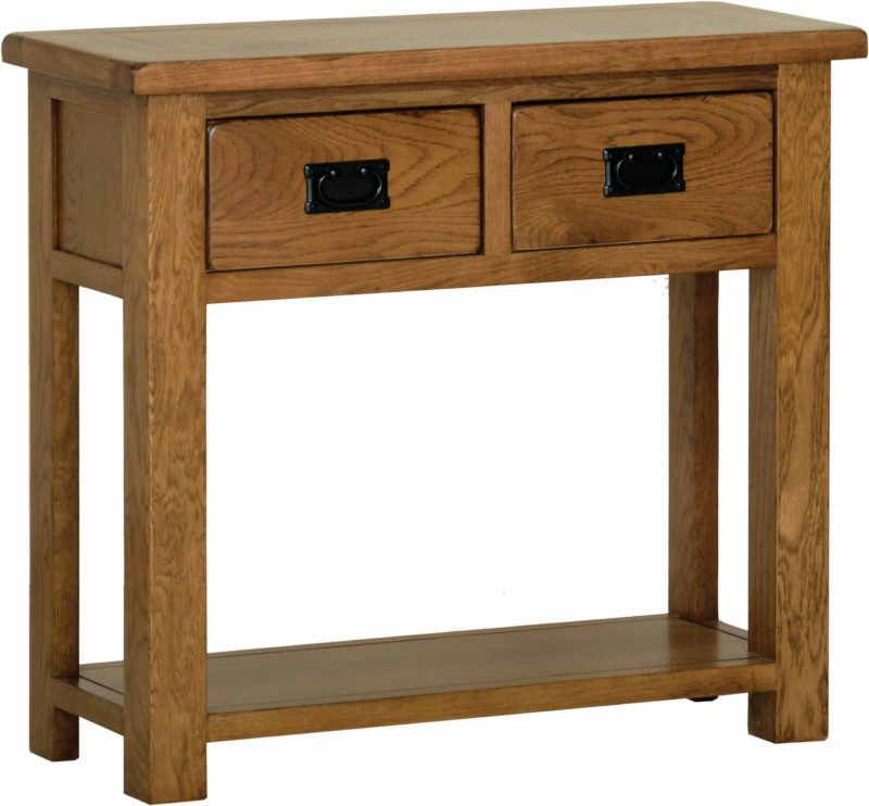 Attrayant 2 Handy Drawers With Black Sudbury Oak 2 Drawer Console Table. Rustic Shaker  Style. 2 Handy Drawers With Black