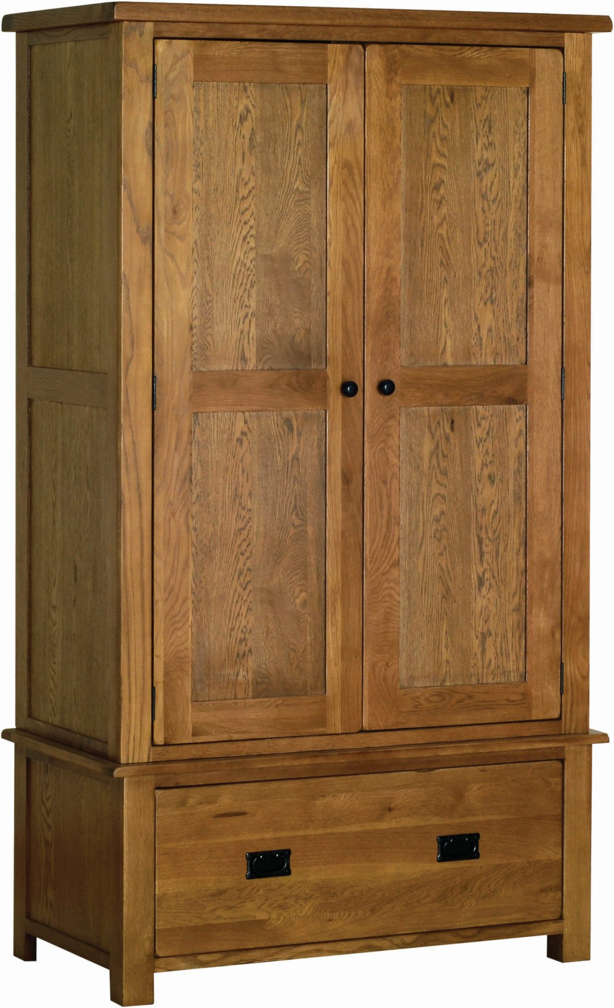 Sudbury Oak Double wardrobe with Drawer. rustic oak shaker style. 1 large drawer, 2 doors with rustic black round knobs. SRW30