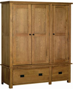 Sudbury Triple Wardrobe With Drawers. rustic oak shaker style. 1 large and 1 small drawer, 3 doors with rustic black round knobs. SRW50