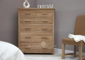 Bury solid oak large jumbo chest of drawers image shows oak bar handles.