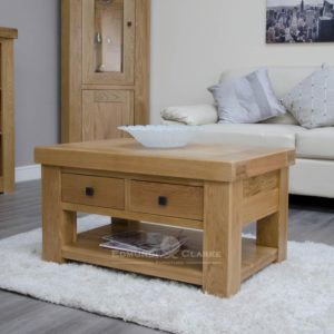 Hadleigh Solid Oak 3 x 2 Coffee Table. chunky shaker style oak. two handy drawers and shelf at bottom. choice of handles
