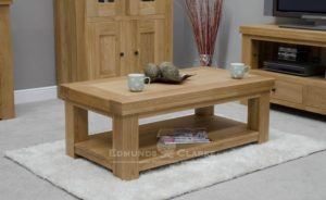 Hadleigh solid oak 4 x 2 Coffee Table. chunky shaker style with shelf at the bottom for magazines or baskets