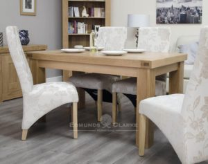 Hadleigh solid oak small fixed top table. 70mm thick oak top and chunky legs will sit 4 to 6 people comfortable Light oak finish