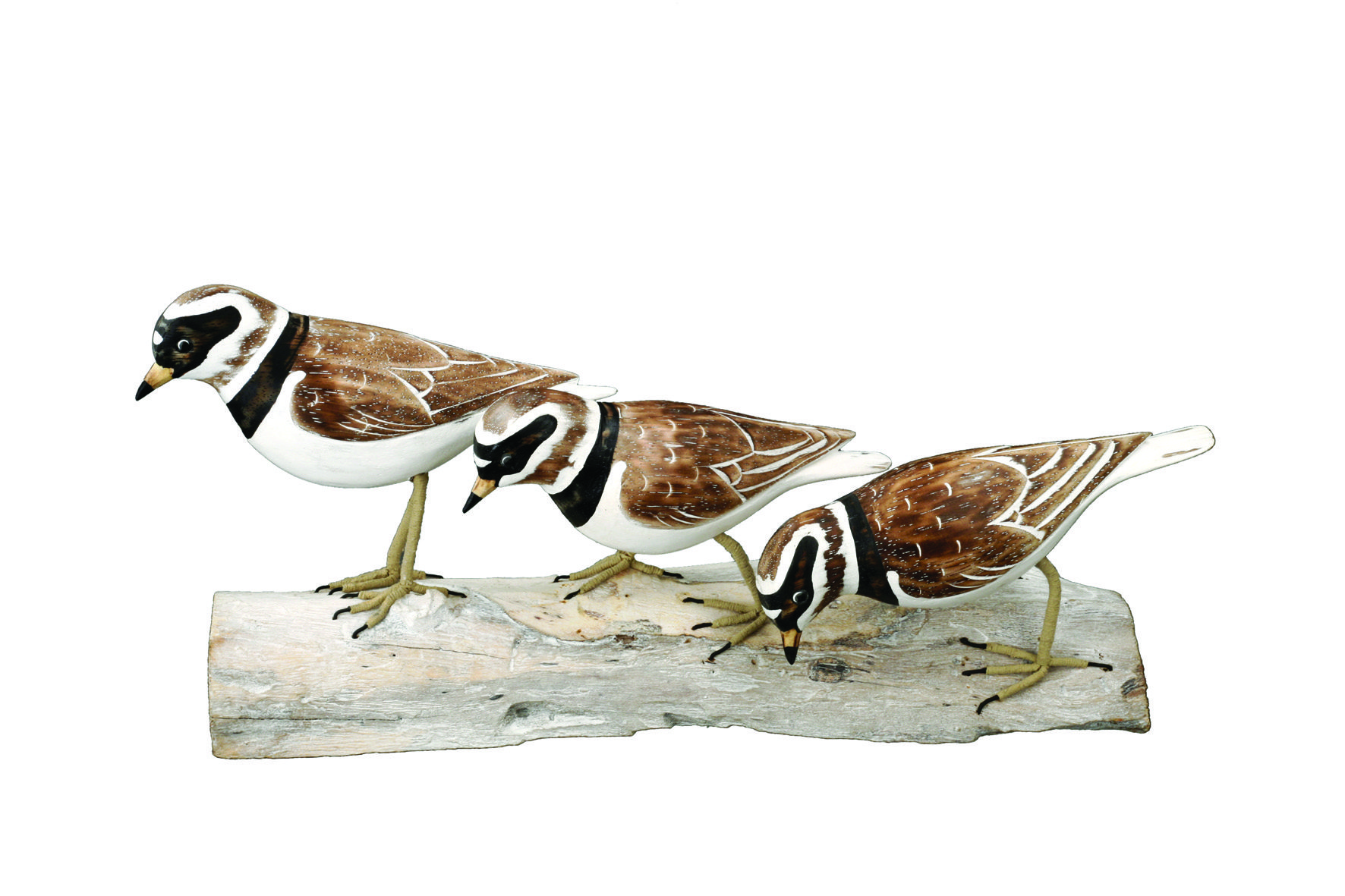 Archipelago Plovers Block Wood Carving D153 Group of plovers on a block . hand painted and carved. Fair trade