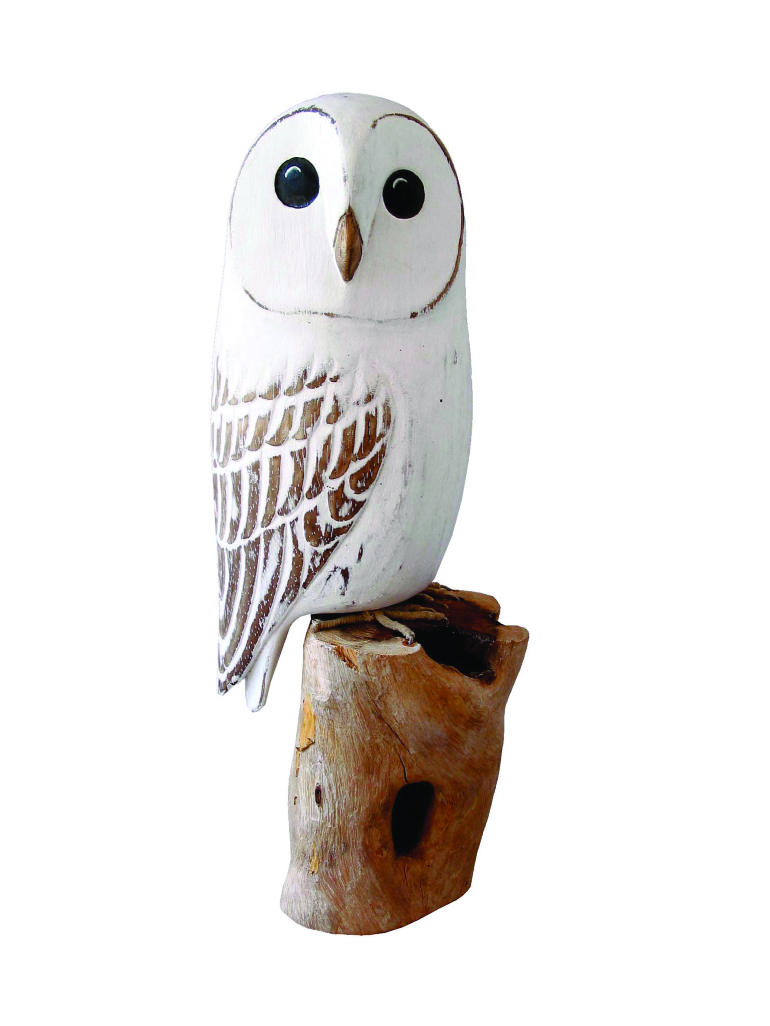 Archipelago Barn Owl Wood Carving D154 white barn owl perched on a log. Fair trade